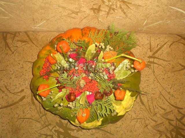Осенние поделки из тыквы цветочная