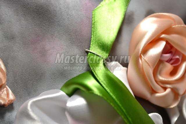Вышивка лентами. Розы. Мастер класс с фото