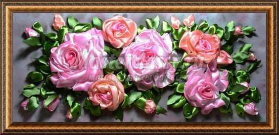 Вышивка лентами. Розовые сны. Мастер класс с фото