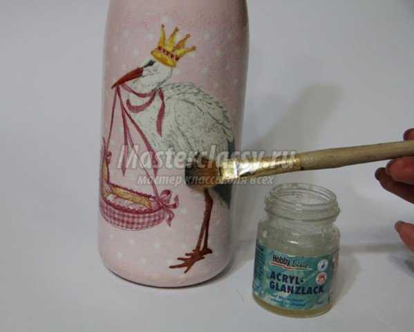 Декупаж бутылки в подарок на День Рождения ребёнка