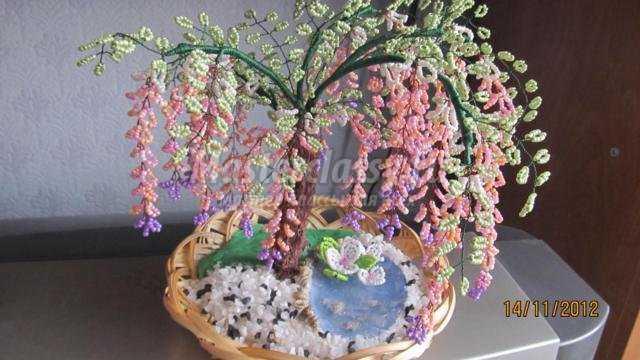 Мастер-класс с пошаговым фото Клен осенний - дерево из бисера параллельным плетением.