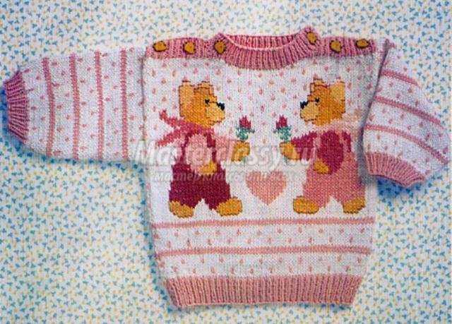 Вязаный свитер с медвежатами