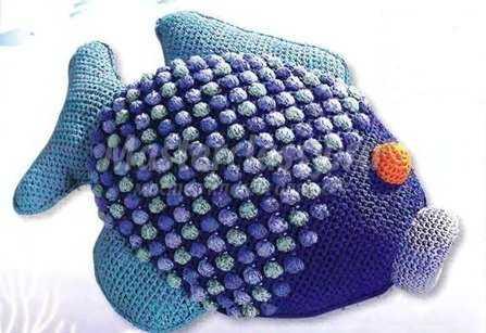 Вязаная подушка-рыбка. Схема и