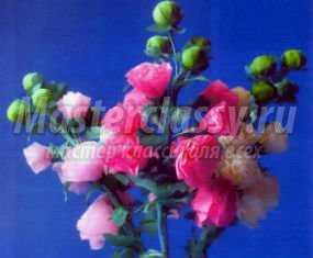 Цветы из гофрированной бумаги Мальвы Мастер класс с пошаговым фото.