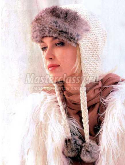 Вязание спицами шапки-ушанки