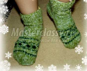 Методы учения вязания носков с рисунком снежинка