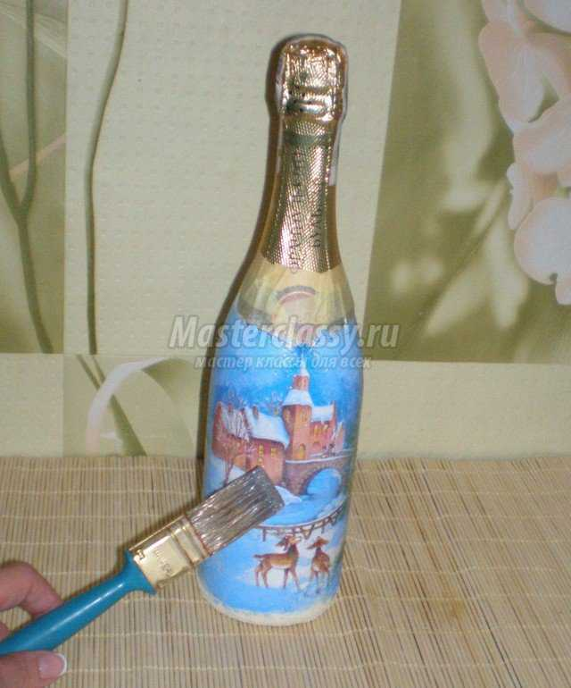 Декупаж бутылки пошагово с