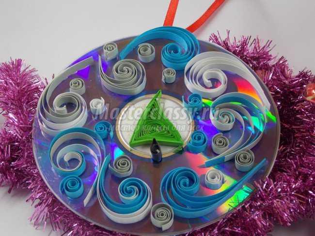 Зимние поделки из дисков своими руками