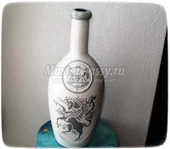 Трафаретная роспись бутылки