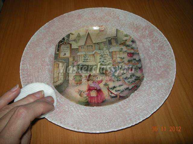 декупаж на тарелке пошагово с фото