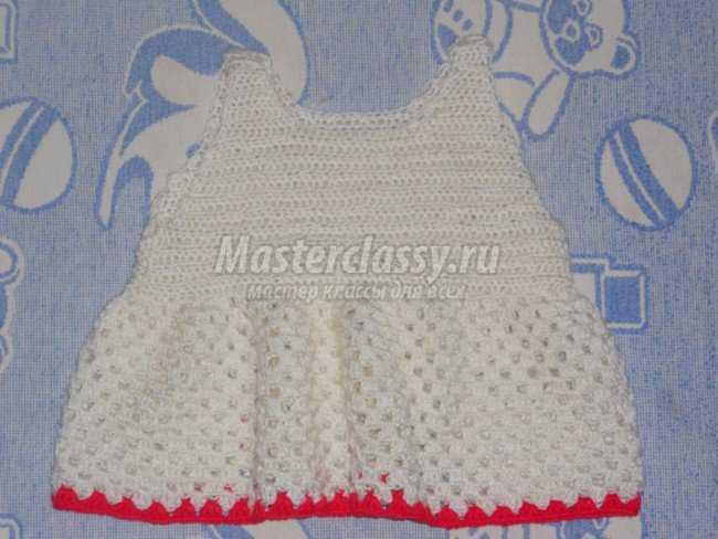 Платье крючком для девочки от 1 года до 2 - х лет.  Мастер-класс.
