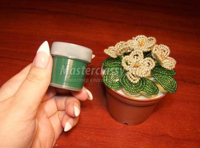 Цветы из бисера пошаговое