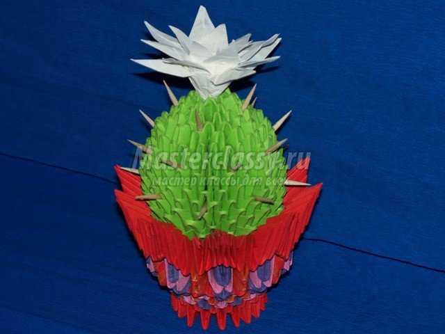 Маленький кактус оригами