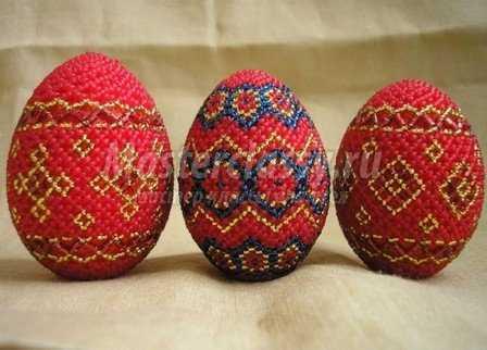 Плетение яиц бисером