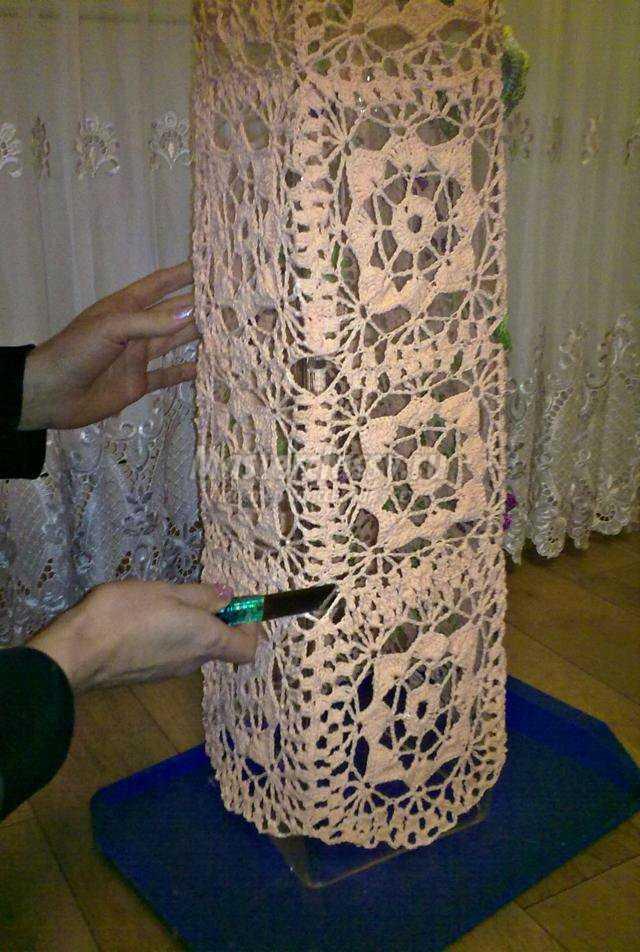 ваза, вязанная крючком. Осень