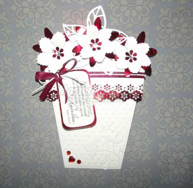 Скрапбукинг открытка. Горшок с цветами
