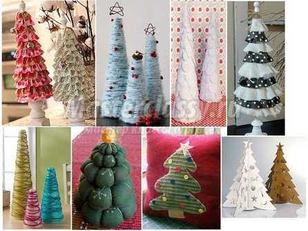 Необычные елки своими руками из разных материалов фото