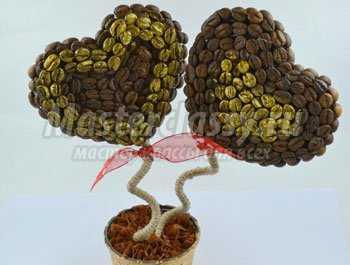 Кофейное дерево своими руками. 2 сердца. Мастер класс с пошаговыми фото