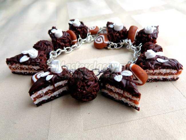 Браслет из запекаемой полимерной глины шоколад