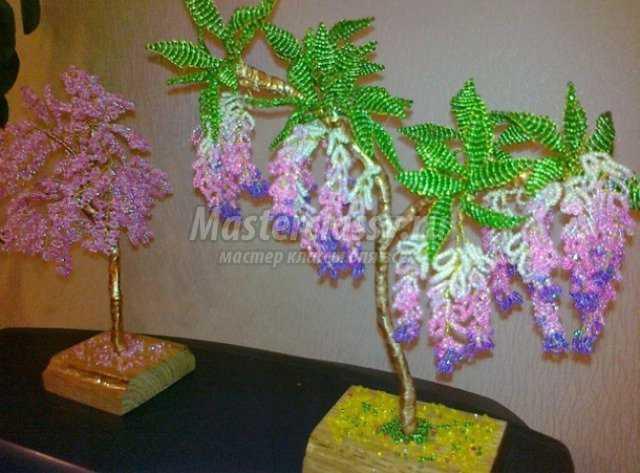 деревья из бисера мастер класс фото.