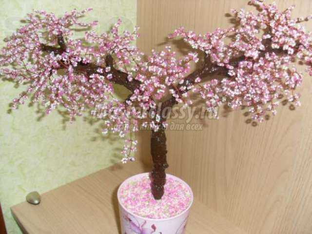 деревья из бисера мастер класс для начинающих видео сакура.