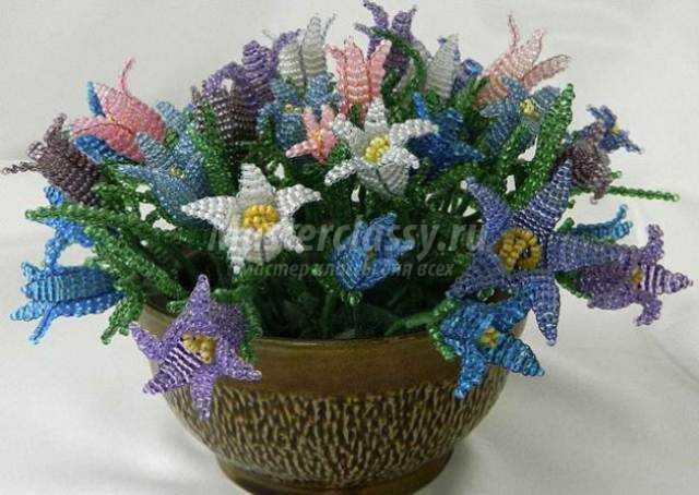 Цветы из бисера схемы . параллельного плетения из бисера .
