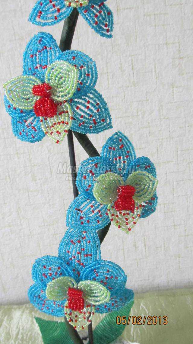 """свой цитатник или сообщество! сделать орхидею из бисера.  Бисероплетение цветов.  Голубая орхидея  """"Мечта """"."""