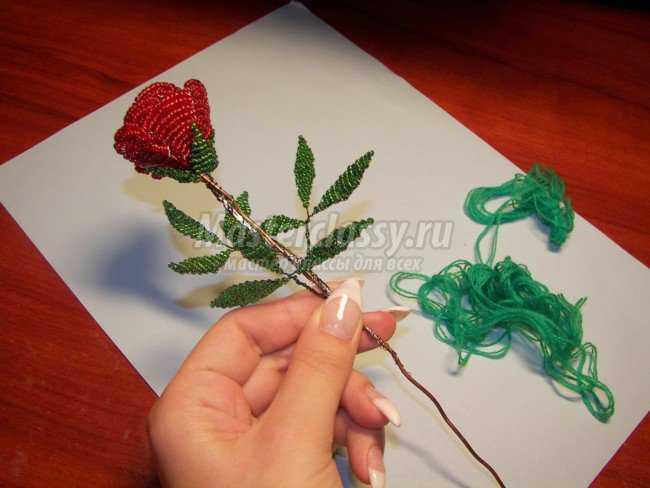 Куст красных роз из бисера.