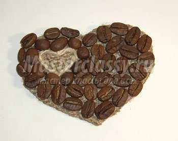 Сердце из кофейных зерен своими руками фото