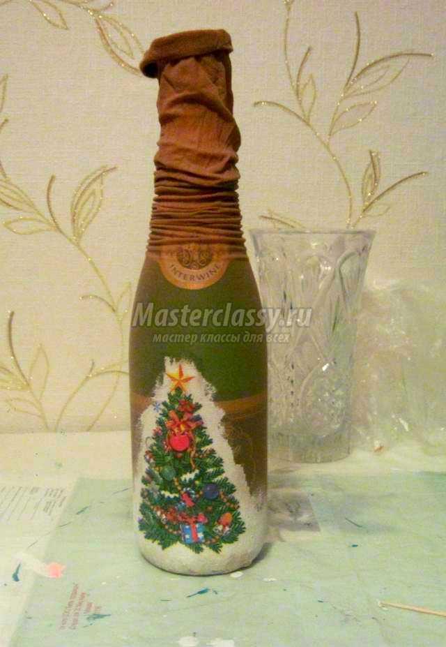 Украшение бутылок своими руками новогодних фото 382