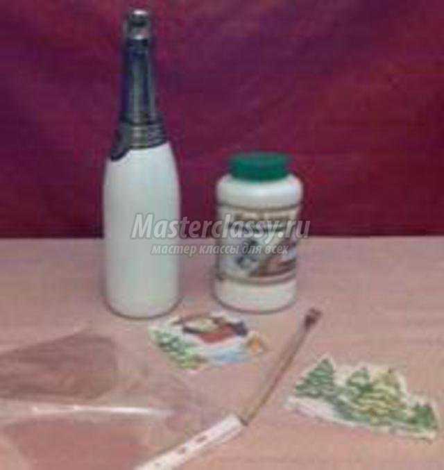 Декупаж бутылки мастер класс с пошагово