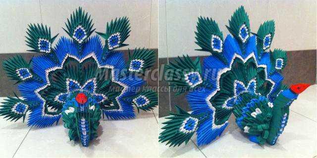 Наш красавец оригами павлин из