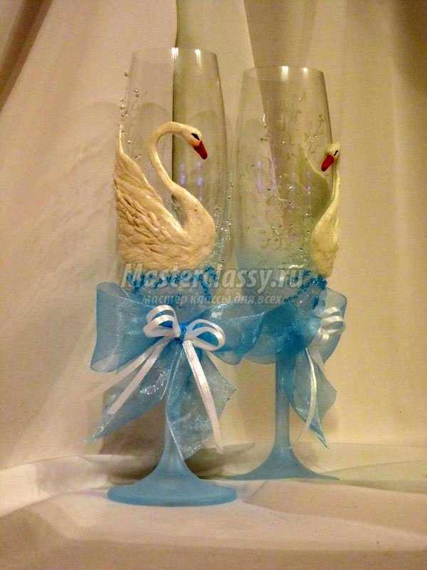 Украшение свадебных бокалов. Лебеди