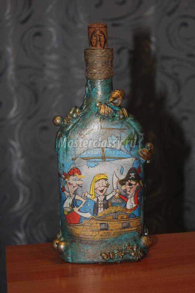 декупаж бутылки с ромом. Пираты