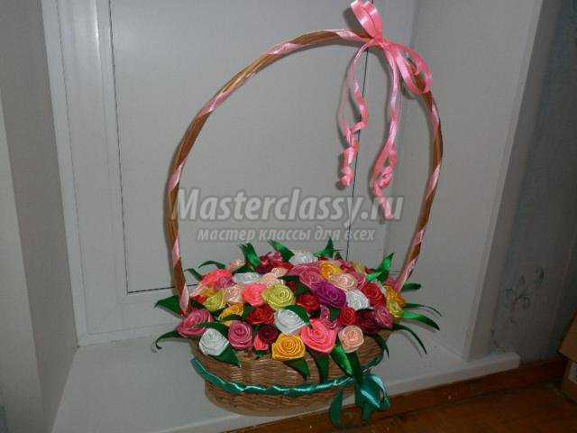 Корзинка с цветами из лент своими руками