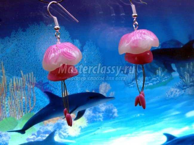 Серьги-медузы из запекаемой