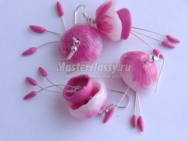 Серьги-медузы из запекаемой полимерной глины