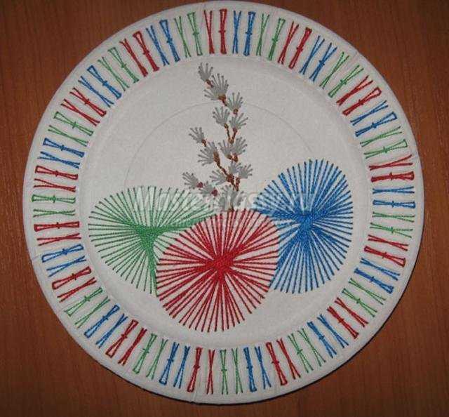 пасхальная тарелочка в технике