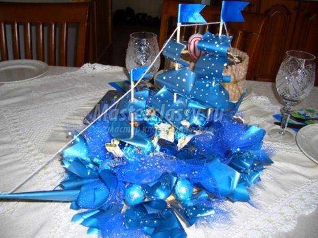 Корабль из конфет, мастер класс, по изготовлению которого представлен вашему вниманию выше - готов!