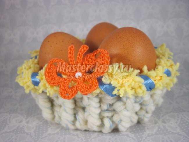 Корзинка для пасхальных яиц крючком