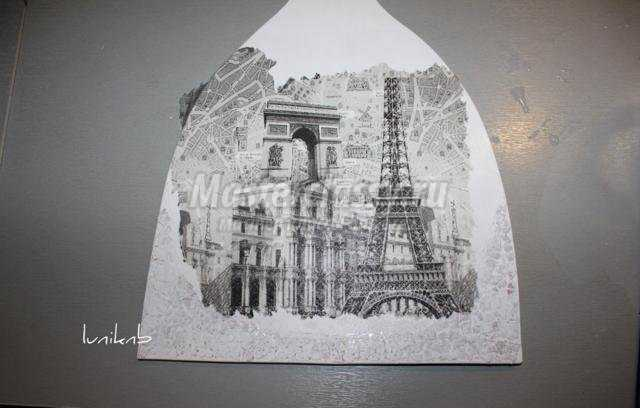 декупаж разделочной доски. Париж