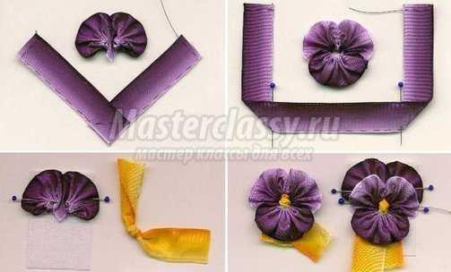 Как сделать атласные цветы своими руками фото
