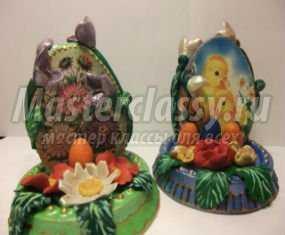 Пасхальное яйцо из гипса с цветами из пластики. Мастер класс с пошаговыми фото