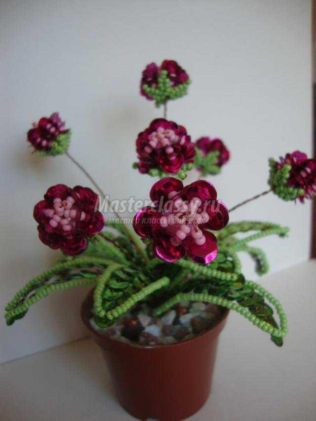 цветы из пайеток, бисера и