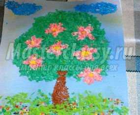 Картина из бумажной крошки цветущее