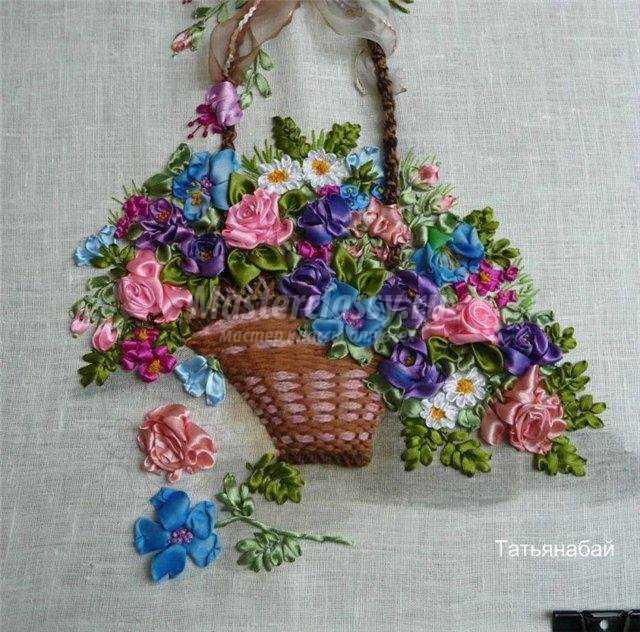 Вышивка шелковыми лентами цветов