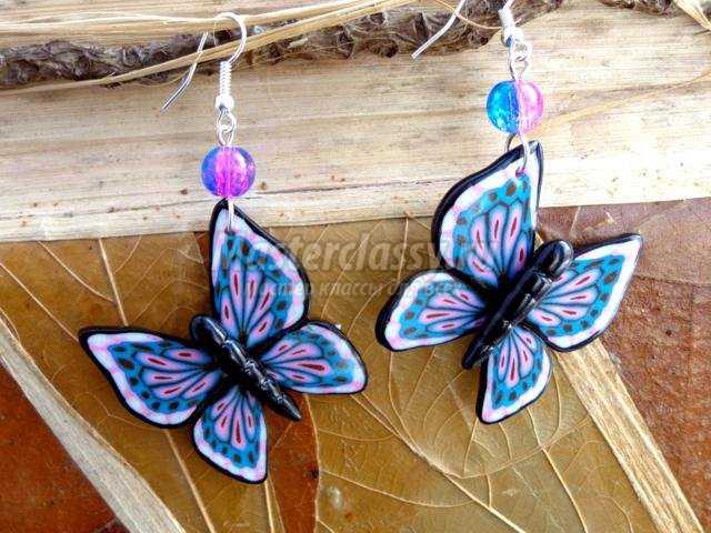 серьги из полимерной глины. Бабочки
