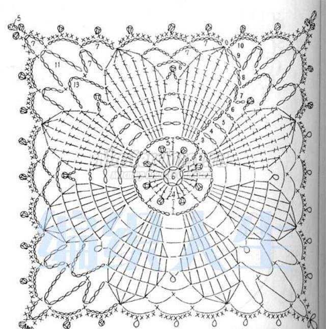 Квадратные салфетки крючком со схемой