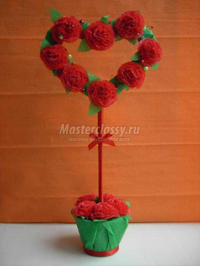 Топиарий с розами из салфеток своими руками