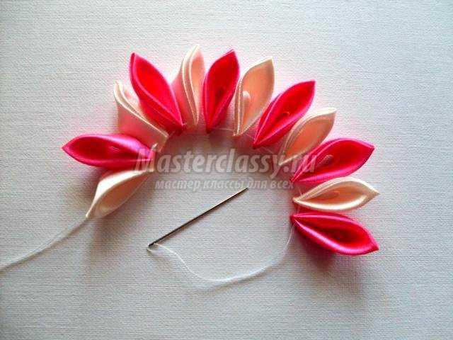 Шкатулка из цветов лент мастер класс подробно #7